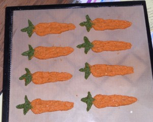 Treat or Art?  Healthy snacks made from parsley, carrots and timothy hay.